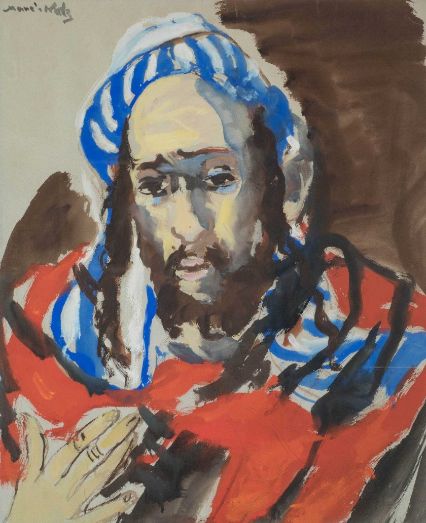 ManeKatzEmmanuel_RabbiBlueRed_Watercolour_58x48cm