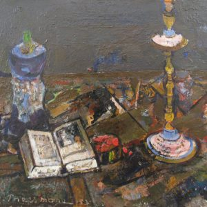 STILL LIFE WITH CANDLESTICK AND BOOK
